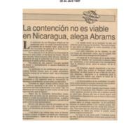 La contención no es viable en Nicaragua, Alega Abrams.