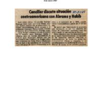 Canciller discute situación centroamericana con Abrams y Habib.